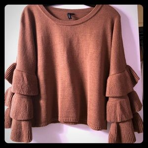 Sweaters - Camel colored bell sleeve cropped sweater